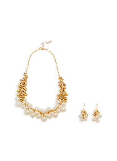 Faux Pearl Clustered Bead Necklace and Earrings,IVORY,large