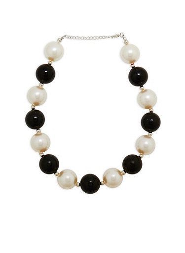 Jumbo Two Tone Faux Pearl Necklace,BLACK,large