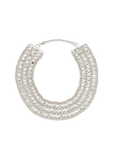 Metallic Rhinestone Embellished Collar Necklace,SILVER,large