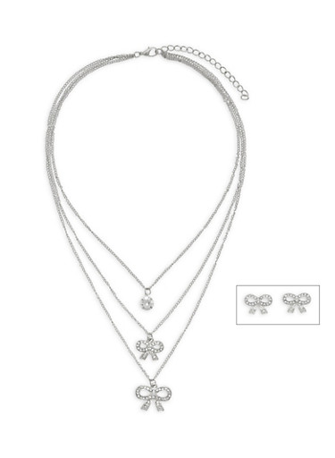 Layered Rhinestone Bow Charm Necklace and Earrings,SILVER,large