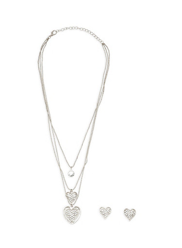 Layered Rhinestone Heart Charm Necklace and Matching Earrings,SILVER,large