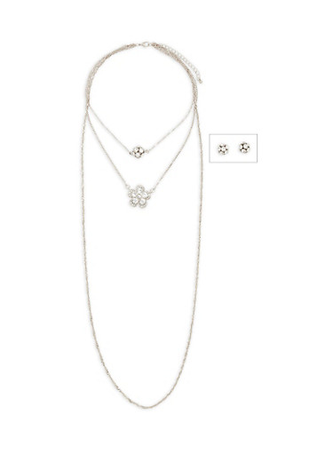 Multi Layer Rhinestone Charm Necklace with Stud Earrings,SILVER,large