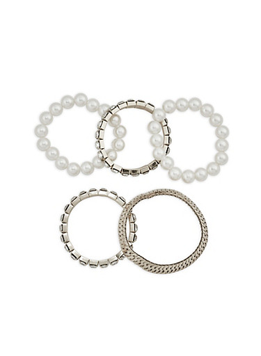 Set of 5 Faux Pearl Rhinestone Stretch Bracelets,SILVER,large