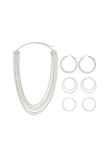 Chain Necklace with Metallic Hoop Earrings,SILVER,large