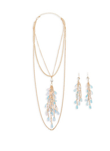Layered Sequin Fringe Necklace with Earrings,GOLD,large