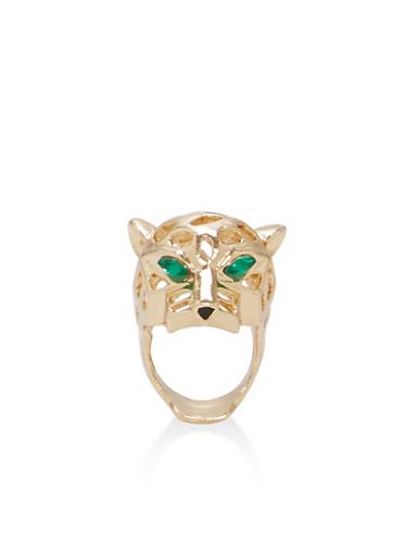 Metallic Jaguar Ring,GOLD,large