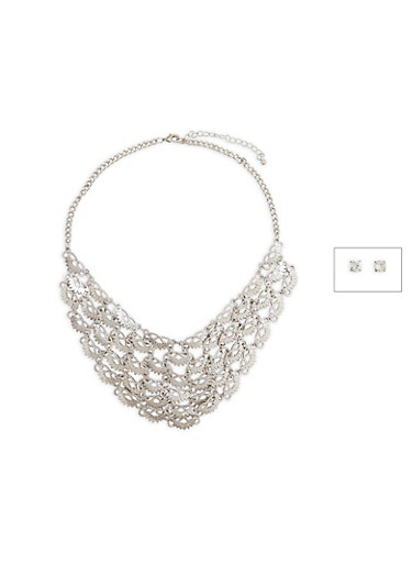 Laser Cut Metallic Collar Necklace with Stud Earrings,SILVER,large