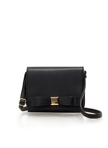 Square Faux Leather Shoulder Bag with Bow Accent,BLACK,large