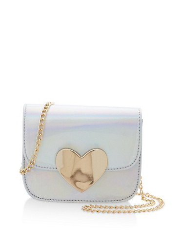 Holographic Crossbody Bag with Metallic Heart Detail,IRIDESCENT,large