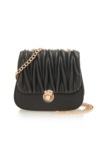 Pleated Crossbody Bag with Chain Strap,BLACK,large