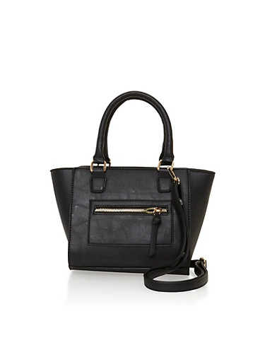 Faux Leather Crossbody Satchel Bag,BLACK,large
