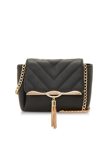 Chain Tassel Crossbody Bag,BLACK,large