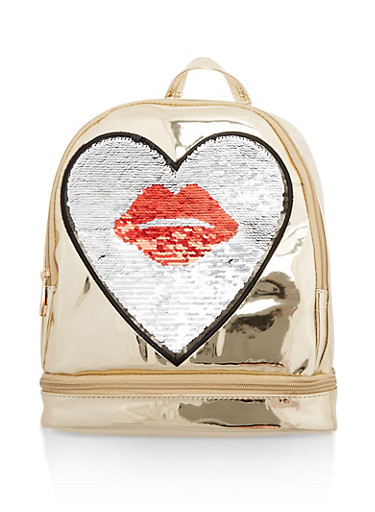 Reversible Kiss Sequin Backpack,GOLD,large