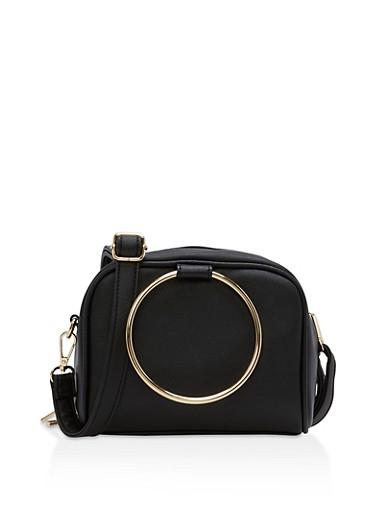 Small Double Ring Handbag,BLACK,large