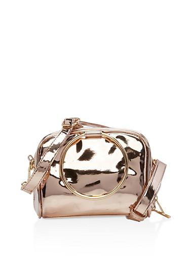 Small Double Ring Handbag,ROSE,large