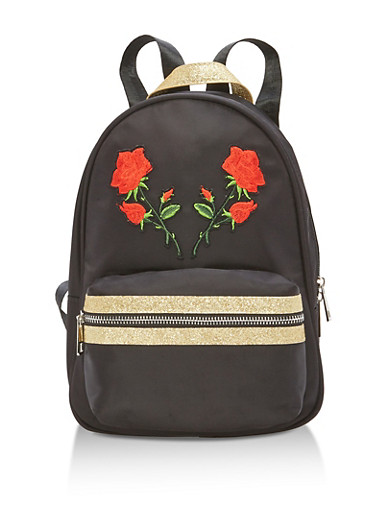 Glitter Accented Floral Applique Backpack,BLACK,large