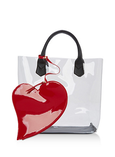 Clear Heart Tote Bag,CLEAR/RED,large