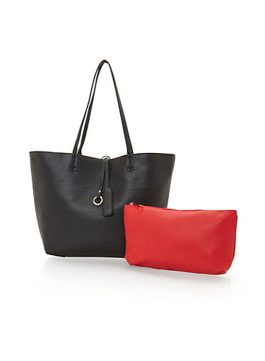 2 in 1 Faux Leather Shopper Bag,BLACK/RED,large