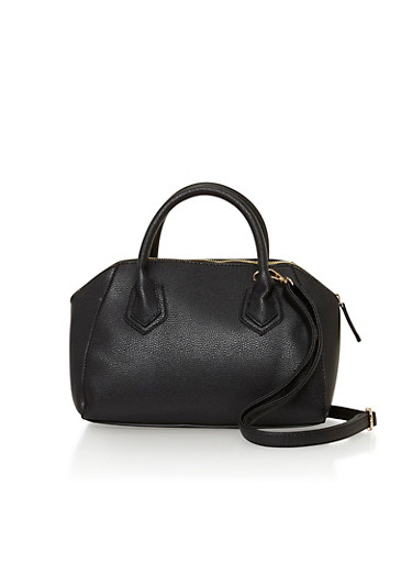 Pebbled Faux Leather Handbag,BLACK,large