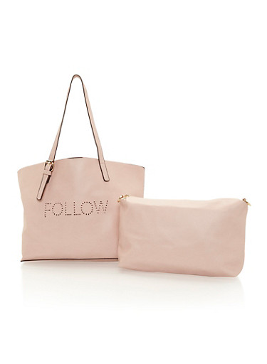 Faux Leather Follow Unfollow Tote with Inner Removable Pouch,BLUSH,large