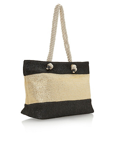 Metallic Colorblock Beach Bag,BLACK/GOLD,large
