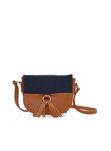 Two Tone Tasseled Crossbody Saddle Bag,COGNAC/DENIM,large
