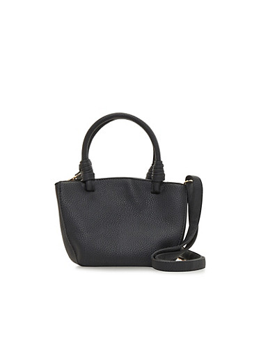 Small Heavy Grain Over The Shoulder Handbag,BLACK,large