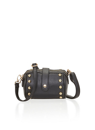 Studded Faux Leather Crossbody Barrel Bag,BLACK,large