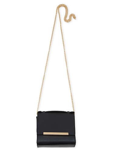 Mini Square Flap Crossbody Purse with Metal Bar Accent,BLACK,large