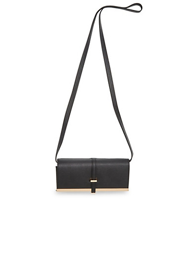Faux Leather Shoulder Bag,BLACK,large