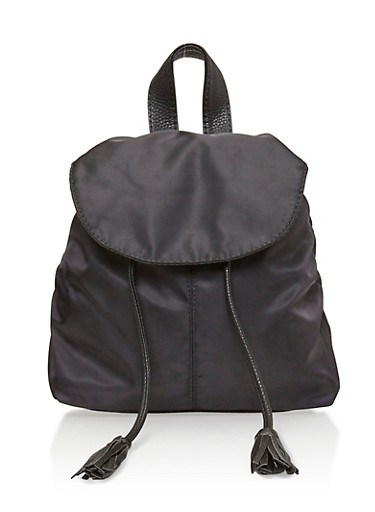 Faux Leather Back Pack with Tassel Drawstring,BLACK,large