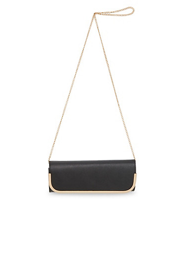 Convertible Clutch Bag in Faux Leather,BLACK,large