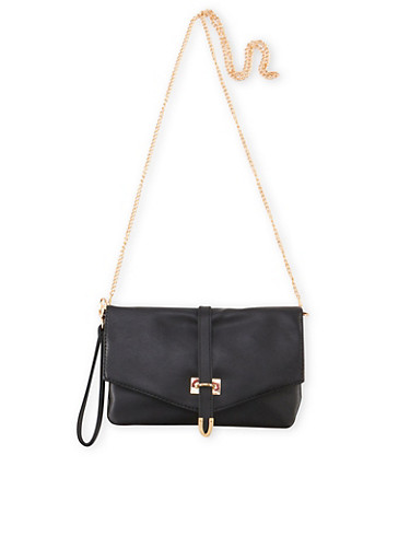 Convertible Envelope Wristlet Crossbody Bag,BLACK,large