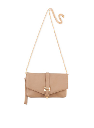 Convertible Crossbody Bag with Buckle Accent,BONE S,large