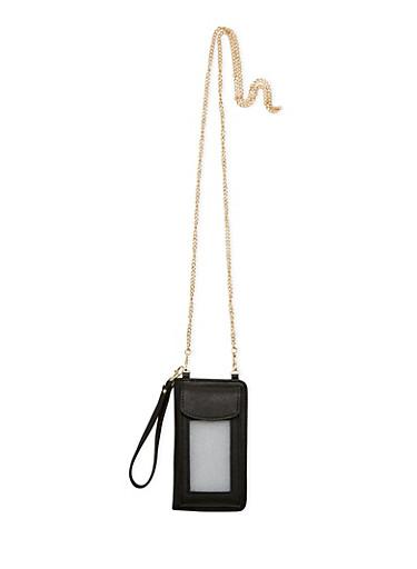 Faux Leather Wristlet Smartphone Case,BLACK,large