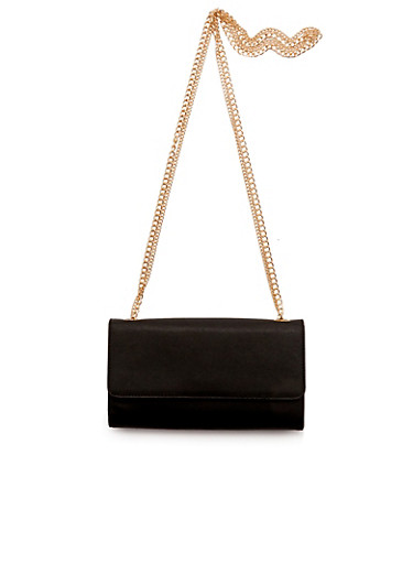 Faux Leather Clutch with Removable Chain Link Shoulder Strap,BLACK,large