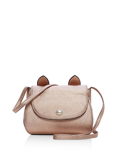 Textured Faux Leather Cat Purse,ROSE,large