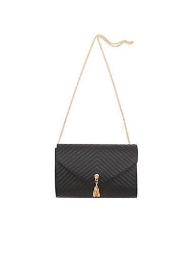 Quilted Shoulder Bag with Chainlink Strap,BLACK,large