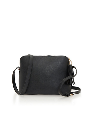 Crossbody Bag with Tassel Zipper,BLACK,large