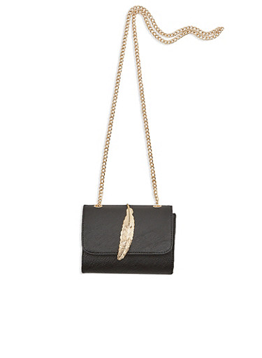 Crossbody Bag with Leaf Accent,BLACK,large