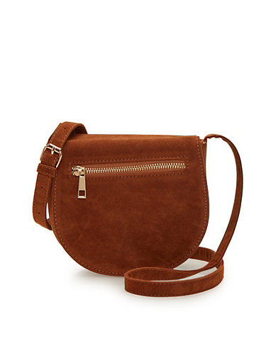 Faux Suede Saddle Bag with Zipper Trim,COGNAC,large