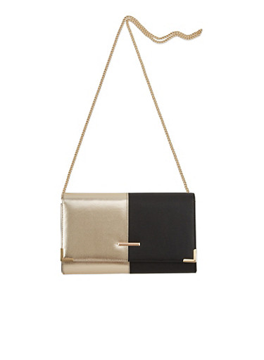 Convertible Crossbody Bag in Faux Leather,BLACK/GOLD,large
