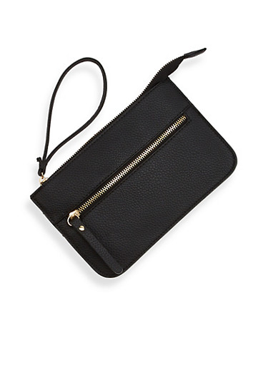 Leather Zip Clutch with Wrist Strap,BLACK,large