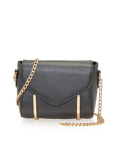 Crossbody Bag with Chainlink Strap and Metal Trim,BLACK,large