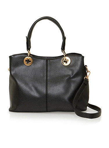 Faux Leather Convertible Satchel with Goldtone Hardware,BLACK,large