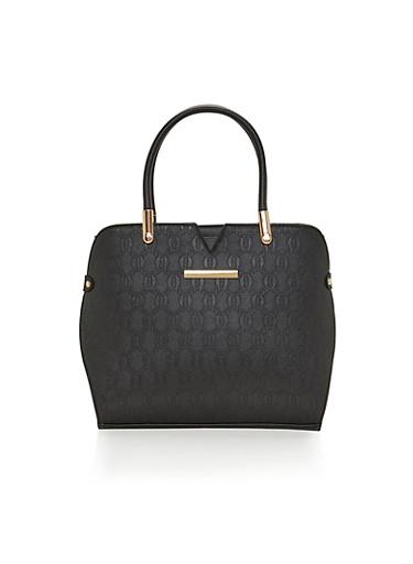 Embossed Faux Leather Handbag,BLACK,large