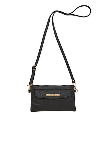 Mini Faux Leather Crossbody Bag with Flap Front Pocket,BLACK,large
