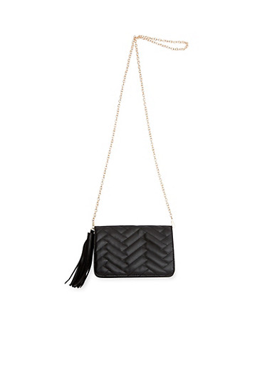 Quilted Faux Leather Crossbody Bag,BLACK,large