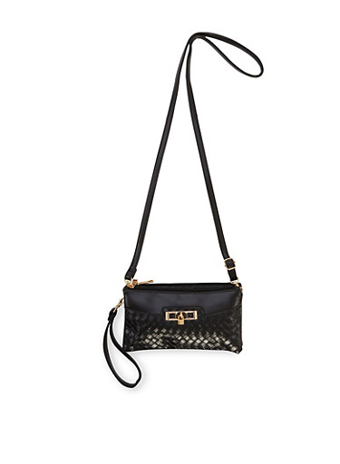Convertible Crossbody Bag with Padlock Charm,BLACK,large