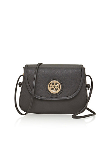 Faux Leather Crossbody Bag with Medallion Accented Button Closure,BLACK,large